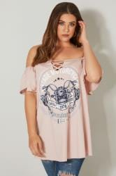 LIMITED COLLECTION Pink 'Vintage Motorcycles' Bardot Top