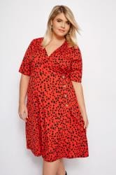 LIMITED COLLECTION Red Animal Wrap Front Midi Dress