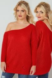 LIMITED COLLECTION Red Chunky Knit Asymmetric Jumper
