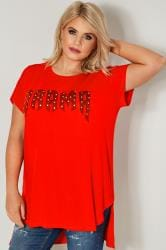 "LIMITED COLLECTION -  Top Rouge Oversize ""Drama"" & Strass"