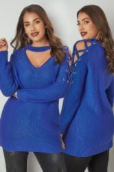LIMITED COLLECTION Royal Blue Choker Jumper With Lace Sleeves