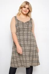 LIMITED COLLECTION Stone Wrap Front Check Pinafore Dress