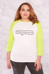 "LIMITED COLLECTION White & Lime Green ""Pizza Not You"" Raglan Top"
