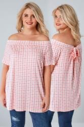LIMITED COLLECTION White & Pink Gingham Print Bardot Top With Tie Back