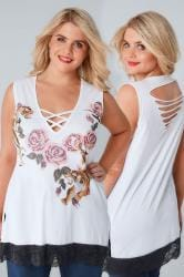 LIMITED COLLECTION White Tiger Print Sleeveless Top With Lattice Neckline & Lace Hem