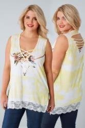 LIMITED COLLECTION White & Yellow Sleeveless Top With Lattice Neckline & Lace Hem