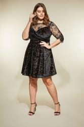 LOVEDROBE Black Burnout Velvet Prom Dress