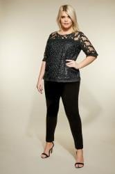 LOVEDROBE Black Floral Lace Pleated Top