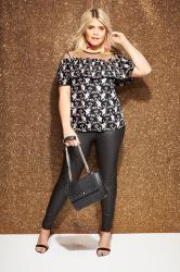 LOVEDROBE Black Floral Top With Mesh Yoke