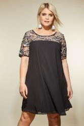 LOVEDROBE Black Shift Dress With Lace Yoke
