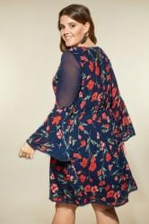 how to adress a letter lovedrobe navy floral dress plus size 16 to 32 43425