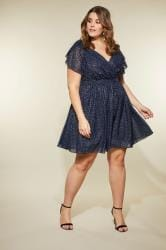 LOVEDROBE Navy Foil Print Tea Dress