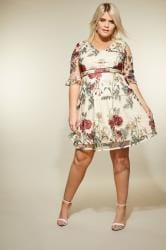 LOVEDROBE Nude Floral Embroidered Dress