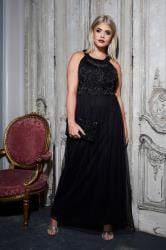 LUXE Black Bead Embellished Fully Lined Maxi Dress With Mesh Skirt