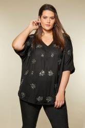 LUXE Black Embellished Cape Top