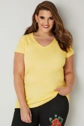 Lemon Yellow Short Sleeved V-Neck Basic T-Shirt