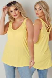 Lemon Yellow V-Neck Vest Top With Cross Back Detail