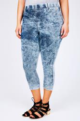 Light Blue Acid Wash Cropped Denim Jegging