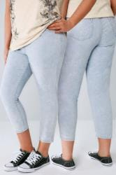 Light Blue Acid Wash Pull On Stretch Cropped Jeggings