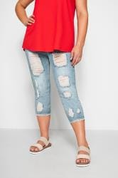 Capri-Jeggings Jenny im extremen Distressed-Look - Hellblau
