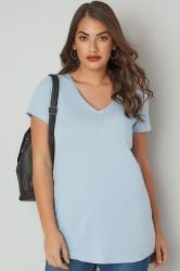 Light Blue Short Sleeved V-Neck Basic T-Shirt