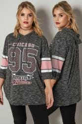 Light Grey & Pink 'Chicago' Slogan Print Hooded Sweashirt