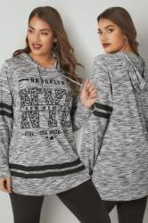 Light Grey Slogan Print Hooded Sweatshirt