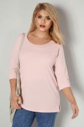 Light Pink Band Scoop Neckline T-Shirt