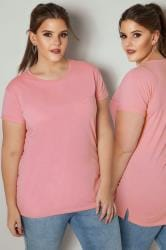 Light Pink Mock Pocket T-Shirt With Curved Hem