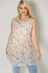 Light Pink & Multi Floral Print Sleeveless Shirt
