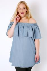 Mid Blue Chambray Denim Ruffle Bardot Swing Top