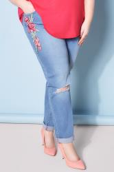 Mid Blue Floral Embroidered Ripped Boyfriend Jeans plus ...
