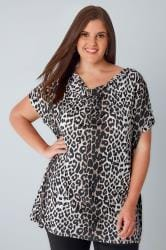 YOURS LONDON Multi Leopard Print Top With Cowl Neck