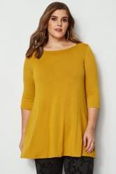 Top Long Jaune Moutarde Manches 3/4