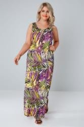 Mutli Palm Print Jersey Maxi Dress With Keyhole Detail