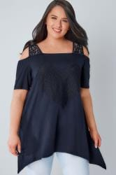 Navy Bardot Jersey Top With Lace Heart Panel & Lace Straps