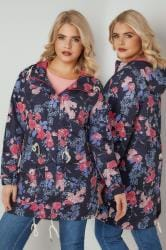 Navy, Blue & Pink Floral Print Shower Resistant Hooded Jacket With Netted Lining