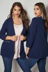 Navy Bubble Crepe Blazer