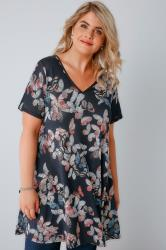 Navy Butterfly Print Fine Knit Swing Top