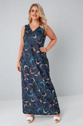Navy Butterfly Print Jersey Maxi Dress With V-Neck