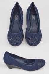 Navy Diamante Wedges In EEE Fit