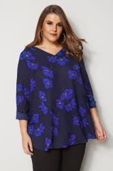 Navy & Cobalt Blouse With Floral Print