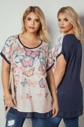 Navy & Cream Glitter Butterfly Print Top With Chiffon Hem