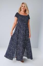 Navy Ditsy Floral Ruched Bardot Maxi Dress With Two Front Splits