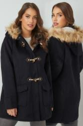 Navy Duffle Coat With Hood & Faux Fur Trim
