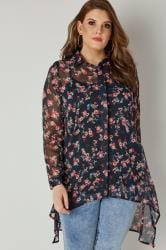 Navy Floral Dipped Hem Shirt