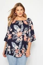Navy Floral Gypsy Bardot Top