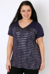 Navy & Gold Foil Stripe Top With Dipped Hem