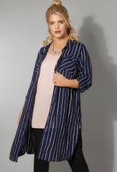 Navy Stripe Longline Shirt
