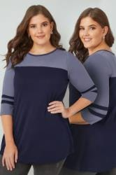 Navy Jersey Colour Block Top With 3/4 Length Sleeves